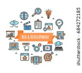 search engine seo color round...   Shutterstock .eps vector #684272185