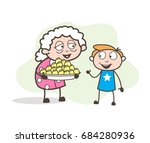cartoon granny presenting... | Shutterstock .eps vector #684280936