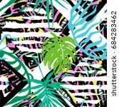 exotic leaves summer funky... | Shutterstock .eps vector #684283462