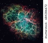 crab nebula is a six light year ... | Shutterstock . vector #684286672