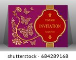 wedding invitation card... | Shutterstock .eps vector #684289168