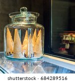 blank crispy ice cream cone in... | Shutterstock . vector #684289516