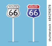 route 66 road sign set. vector... | Shutterstock .eps vector #684290878