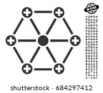medical network icon with black ... | Shutterstock .eps vector #684297412