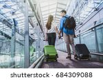 asian couple traveler with... | Shutterstock . vector #684309088