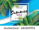 trendy summer sale template... | Shutterstock .eps vector #684309955