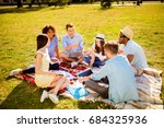 group of cheerful students... | Shutterstock . vector #684325936