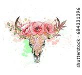 skull of a cow with horns poppy | Shutterstock .eps vector #684331396
