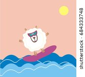 sheep surfing in the sea.... | Shutterstock .eps vector #684333748