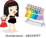 happy shopping with attractive...   Shutterstock .eps vector #68433997