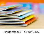 edge book on the wooden table.  ... | Shutterstock . vector #684340522