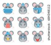 vector set mouse in warm... | Shutterstock .eps vector #684348112
