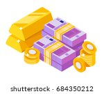 pile of euro with gold bar.... | Shutterstock .eps vector #684350212