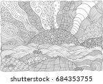 black and white fantasy picture ... | Shutterstock . vector #684353755