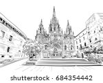 spain. barcelona. cathedral of... | Shutterstock .eps vector #684354442