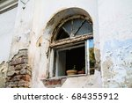 a window in an old ruined house ... | Shutterstock . vector #684355912