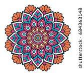 flower mandala. vintage... | Shutterstock .eps vector #684363148