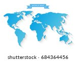 blue world map isolated on... | Shutterstock .eps vector #684364456