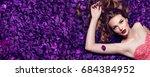 the girl in the petals.... | Shutterstock . vector #684384952
