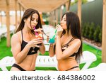 two beautiful women having... | Shutterstock . vector #684386002