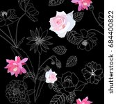 seamless floral pattern with... | Shutterstock .eps vector #684400822