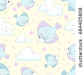 seamless pattern with cute... | Shutterstock .eps vector #684405808
