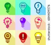 light bulb logo icons set  flat ... | Shutterstock .eps vector #684409576
