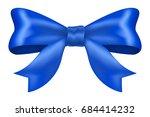 blue ribbon bow. vector 3d... | Shutterstock .eps vector #684414232