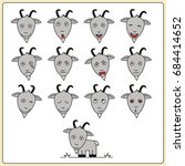 set face funny goat in cartoon... | Shutterstock .eps vector #684414652