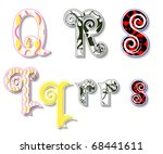 colorful 3d swirl qrs letters...