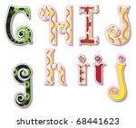 colorful 3d swirl ghij letters...