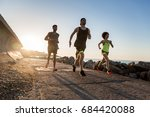 group of young runners... | Shutterstock . vector #684420088