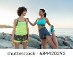 two young sportswomen... | Shutterstock . vector #684420292