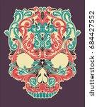 skull of floral shapes | Shutterstock .eps vector #684427552