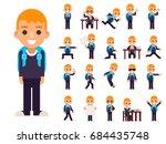 school boy student pupil in... | Shutterstock .eps vector #684435748