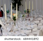 table decoration with glasses ... | Shutterstock . vector #684441892