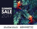 green summer tropical... | Shutterstock .eps vector #684448732