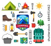 set of camping outdoor activity ... | Shutterstock .eps vector #684451462