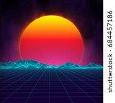 retro background futuristic... | Shutterstock .eps vector #684457186