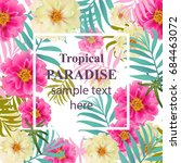 tropical vector floral card.... | Shutterstock .eps vector #684463072