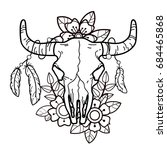 cow skull with flowers and...   Shutterstock .eps vector #684465868