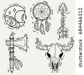 set of old school tattoos with... | Shutterstock .eps vector #684466312