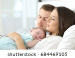 portrait of tired parents... | Shutterstock . vector #684469105