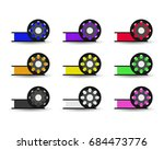 set flat color spool for 3d... | Shutterstock . vector #684473776