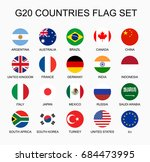 set flat colorful vector circle ... | Shutterstock .eps vector #684473995