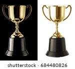 Golden Trophy Cup On Black And...