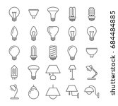 Lamp And Light Bulbs Line Icon...