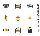 vector illustration of 9 meal... | Shutterstock .eps vector #684489442