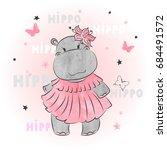 cute cartoon baby hippo. vector ...   Shutterstock .eps vector #684491572