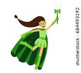 ecological superhero woman in... | Shutterstock .eps vector #684493192
